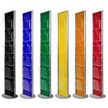 Espositore a pavimento monofacciale fondo colorato con 12 tasche f.to A4 con divisorio