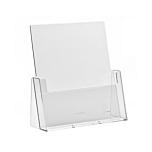 Porta depliant da banco in plexiglass con tasca porta documenti f.to A4 verticale