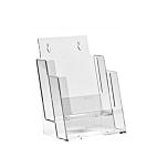 Porta depliant da banco in plexiglass con 2 tasche porta documenti f.to A5 verticale