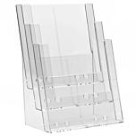 Porta depliant da banco in plexiglass con 3 tasche porta documenti f.to A4 verticale