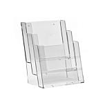 Porta depliant da banco in plexiglass con 3 tasche porta documenti f.to A5 verticale