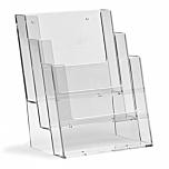 Porta depliant da parete in plexiglass con 3 tasche porta documenti f.to A5 verticale