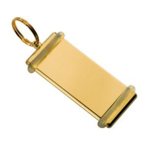 Portachiavi personalizzato in ottone lucido con gomma paracolpi