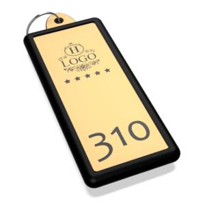 Portachiavi per hotel personalizzato in plexiglass oro Rettangolare