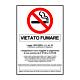 """Cartello in alluminio mm 333x125 """"Vietato fumare con norma"""""""