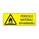 """Cartello in alluminio mm 333x125 """"Pericolo materiali infiammabili"""""""